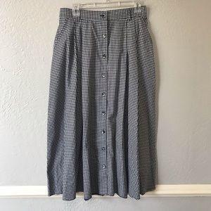 Vintage Button Down Checkered MIDI Prairie Skirt